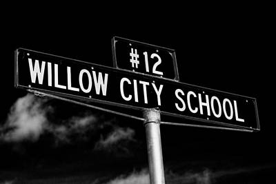 Scifi Portrait Collection - Willow City School Sign by Stephen Stookey