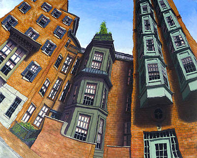 Brownstone Painting - Willow Street by Mike Gruber