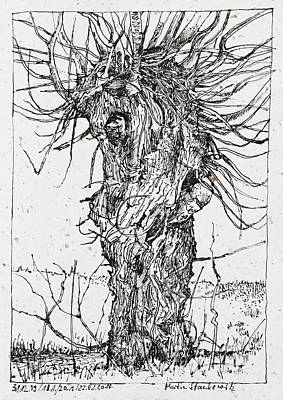 Drawing - Willow Tree Ink Drawing by Martin Stankewitz