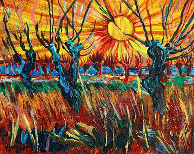 Willows At Sunset - Study Of Vincent Van Gogh Print by Karon Melillo DeVega