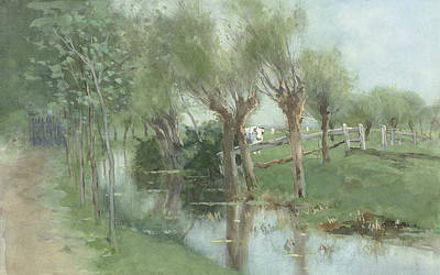 Ditch Painting - Willows In A Ditch by Geo Poggenbeek