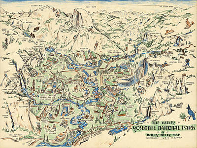 Mixed Media Royalty Free Images - Willy Nilly Map - The Valley -Yosemite National Park - Vintage Illustrated Map - Cartoon Vignettes Royalty-Free Image by Studio Grafiikka