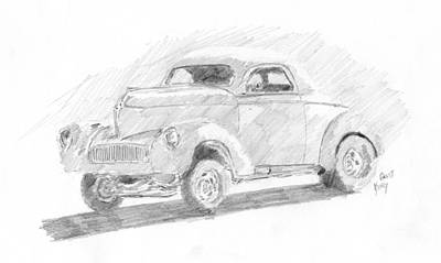 Drawing - Willys Gasser Sketch by David King