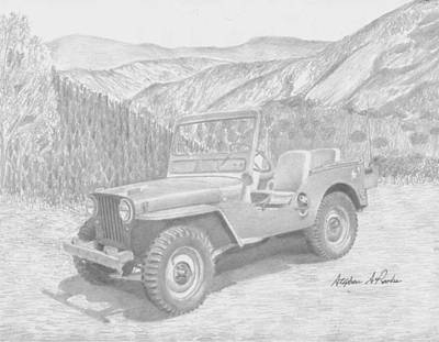 Jeep Drawing - Willys Jeep M38 Classic 4x4 Art Print  by Stephen Rooks