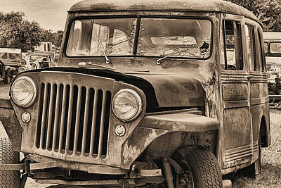 Photograph - Willys Jeep Overland Black And White by JC Findley