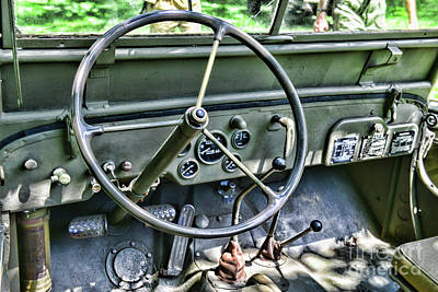 Olive Drab Photograph - Willys Jeep Steering Wheel by Paul Ward