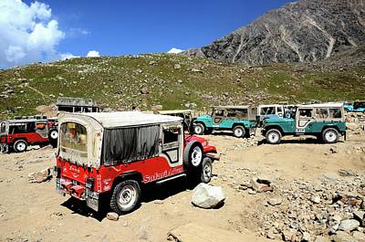 Photograph - Willys Jeeps Parked On Mountainside Valley In Pakistan by Imran Ahmed