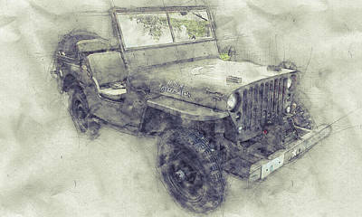 Mixed Media - Willys Mb 1 - Ford Gpw - Jeep - Automotive Art - Car Posters by Studio Grafiikka