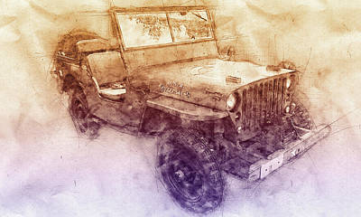 Mixed Media - Willys Mb 2 - Ford Gpw - Jeep - Automotive Art - Car Posters by Studio Grafiikka