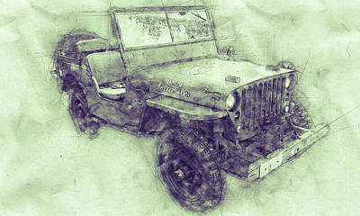 Mixed Media - Willys Mb 3 - Ford Gpw - Jeep - Automotive Art - Car Posters by Studio Grafiikka