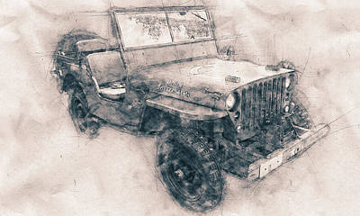 Mixed Media - Willys Mb - Ford Gpw - Jeep - Automotive Art - Car Posters by Studio Grafiikka
