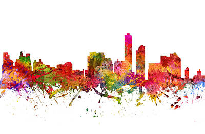 Skylines Drawings - Wilmington Cityscape 08 by Aged Pixel