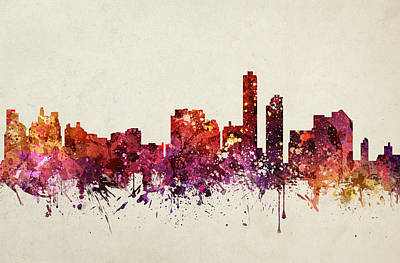 Skylines Drawings - Wilmington Cityscape 09 by Aged Pixel