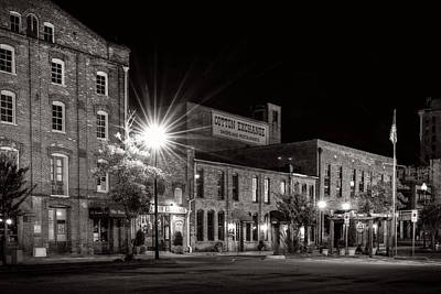 Light Photograph - Wilmington Cotton Exchange At Night In Black And White by Greg Mimbs