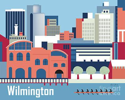 Wilmington Delaware Skyline Art Print by Karen Young