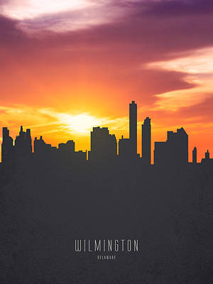 Wilmington Delaware Sunset Skyline 01 Art Print by Aged Pixel