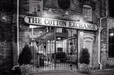 Photograph - Wilmington's Historic Cotton Exchange Building In Black And Whit by Greg Mimbs