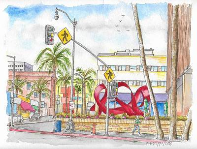 Beverly Hills Painting - Wilshire Blvd. And Camden Dr, Charles Perry Sculpture, Beverly Hills, California by Carlos G Groppa