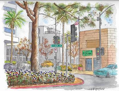 Wilshire Blvd. And Camden Dr., First Republic Bank In Beverly Hills, Ca Art Print by Carlos G Groppa