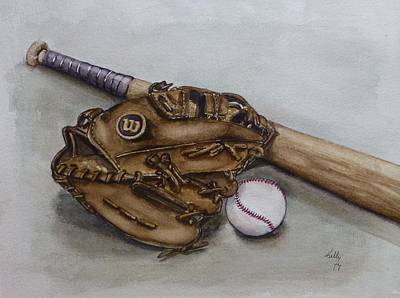 Baseball Gloves Painting - Wilson Baseball Glove And Bat by Kelly Mills