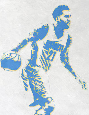 Basket Ball Mixed Media - Wilson Chandler Denver Nuggets Pixel Art by Joe Hamilton