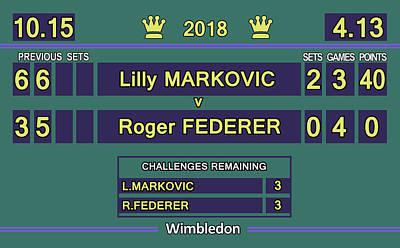 Venus Williams Wall Art - Digital Art - Wimbledon Scoreboard - Lilly Markovic - 4-13 by Carlos Vieira