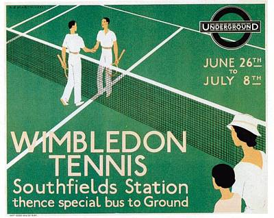 Recently Sold - Sports Royalty-Free and Rights-Managed Images - Wimbledon Tennis Southfield Station - London Underground - Retro travel Poster - Vintage Poster by Studio Grafiikka
