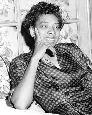 Althea Photograph - Wimbledon Winner, Althea Gibson, Conducts An Interview From Her Home In Harlem. 1957 by Anthony Calvacca
