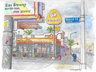 Donuts Painting - Winchells Donut House In Melrose And Detriot St., Hollywood, California by Carlos G Groppa