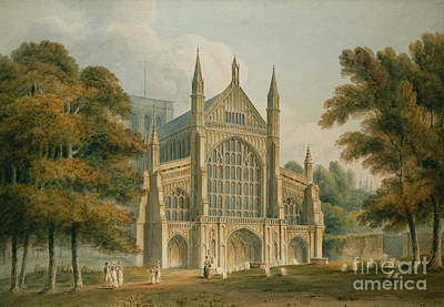 Village Scene Painting - Winchester Cathedral by John Buckler