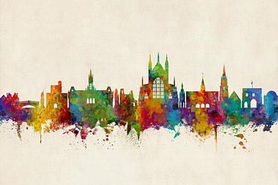 Digital Art - Winchester England Skyline by Michael Tompsett