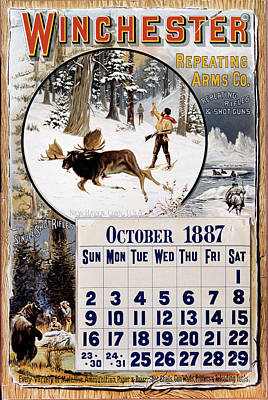 Painting - 1887 Winchester Repeating Arms And Ammunition Calendar by Unknown