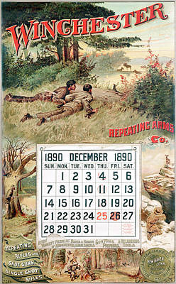 Painting - 1890 Winchester Repeating Arms And Ammunition Calendar by Unknown