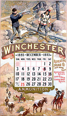 Painting - 1893 Winchester Repeating Arms And Ammunition Calendar by Fredrick Remington