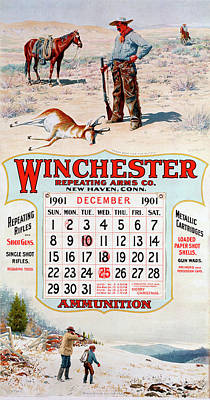 Painting - 1901 Winchester Repeating Arms And Ammunition Calendar by A B Frost