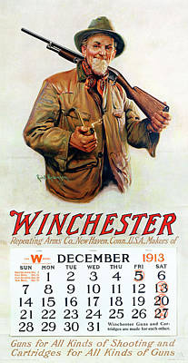 Painting - 1913 Winchester Repeating Arms And Ammunition Calendar by Robt Robinson