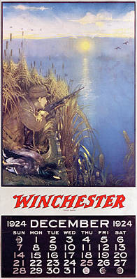 Painting - 1924 Winchester Repeating Arms And Ammunition Calendar by Lynn Bogue Hunt