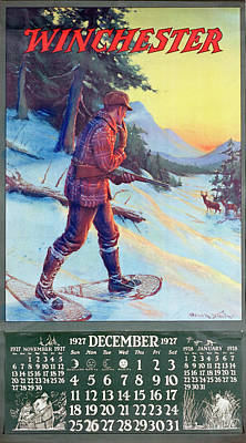 Painting - 1927 Winchester Repeating Arms And Ammunition Calendar by Frank Stick