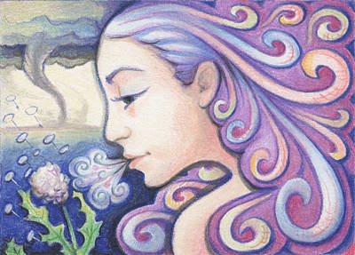 Atc Drawing - Wind - The Elements by Amy S Turner