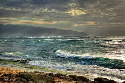 Photograph - Wind Blown Sea North Shore Sunset Oahu Hawaii Art by Reid Callaway