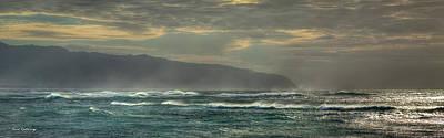 Photograph - Wind Blown Surf North Shore Sunset Oahu Hawaii Art by Reid Callaway