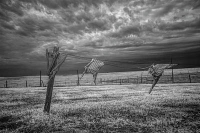 Wind Blown Wash In Black And White Infrared On The Clothesline Art Print