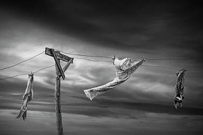 Photograph - Wind Blown Wash In Black And White On The Clothesline by Randall Nyhof