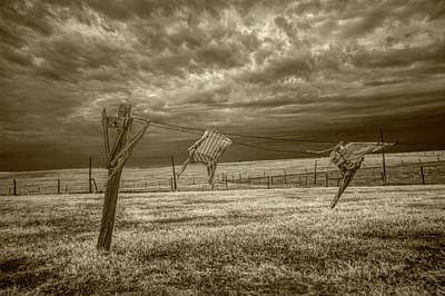 Photograph - Wind Blown Wash In Sepia Tone Infrared On The Clothesline by Randall Nyhof