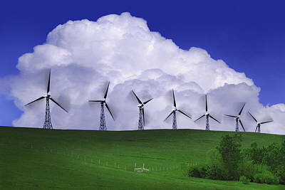 Wind Generators With Clouds In Art Print by Don Hammond