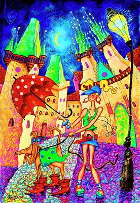Astronomical Clock Painting - Wind by Inga Konstantinidou