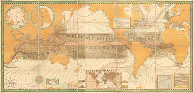 Old World Vintage Cartographic Maps Wall Art - Drawing - Wind Map Of The World - Meteorological Chart - Historic Chart Of The Wind Currents - Old Atlas by Studio Grafiikka
