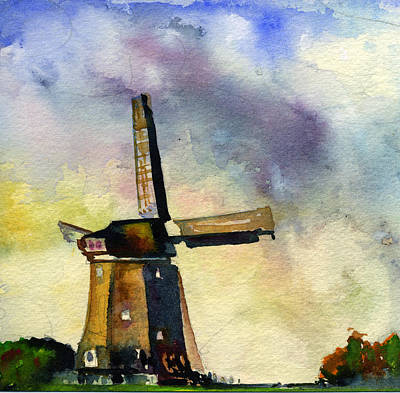 Painting - Wind Mill Alone by John D Benson