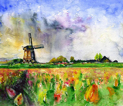 Painting - Wind Mill And Tulips 1 by John D Benson