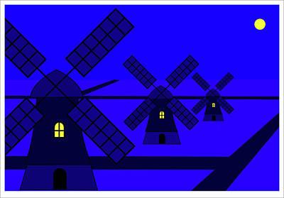 Digital Art - Wind Mills Netherlands by Asbjorn Lonvig